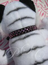"Black & Pink Crystal Dog Collar Necklace Bling 11"" - 14"" Med Dress Up Puppy"