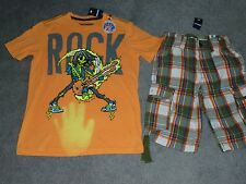 NWT Brothers/Justice Hyper Color T-shirt & Plaid Shorts Size 10