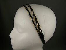 Black Gold double thin skinny headband hair band accessory braid