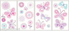 Small Wonders Baby Girl Butterflies Wall Decals, Pink