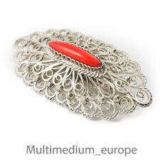 Silber Brosche 835 filigran Handarbeit silver brooch filigree 30er Jahre koralle