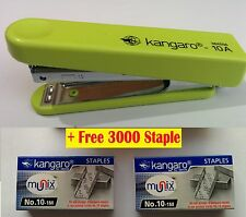 KANGARO HS10-A STAPLER WITH STAPLE REMOVER HOOK FREE 3000 STAPLES OFFICE Green