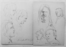 HUGH MCKENZIE - TWO (2) INK DRAWINGs OF PEOPLE - FREE SHIP IN US