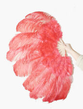 "Red Ostrich & Marabou Feathers fan Burlesque carrying case 24""x43"""