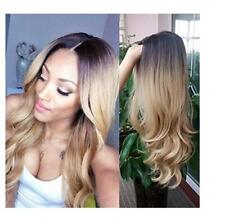 Women Black To Blonde Ombre Synthetic Hair Wigs Body Wave Heat Resistant Hair