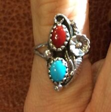 Navajo Sterling Silver coral Turquoise Flower leaf Ring Sz 3 marked SC