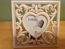 "POSSIBILITIES HEART PHOTO FRAME 3""X 3"" PICTURE ANTIQUE WHITE FILIGREE PREOWNED"