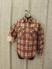 NOS Vtg 1960s Blue Rust Plaid 50/50 Flannel Shirt Jr Miss Sz L Sporty Casual NEW