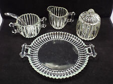 Vintage Depression Pressed Glass Condiment Set with Tray