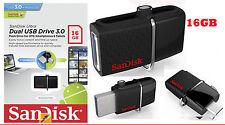 SanDisk Ultra Dual USB Drive 3.0 16GB OTG Pendrive USB 3.0 + Micro USB