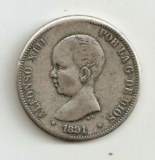 Alfonso XIII : 5 Pesetas 1891 ( bonita reproducción en metal blanco )