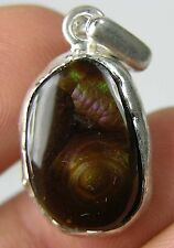 #8 23.25ct Mexico 100% Natural Rough Cab Fire Agate Gemstone Pendant 4.65g 18mm