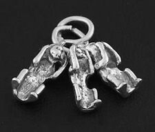 STERLING SILVER HEAR SEE SPEAK NO EVIL THREE MONKEYS CHARM / PENDANT
