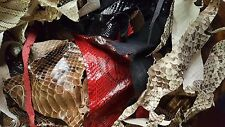 Genuine python skin remnants, assorted leather scraps, **REAL LEATHER**