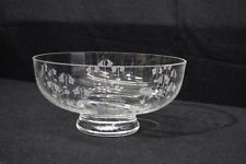 "Vintage SKRUF Crystal Etched Floral Pattern 9"" Footed Pedestal Bowl 2077, Sweden"