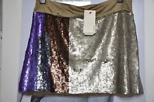 "CELEB PARTY MINI SKIRT ""PINKO"" ,multicolo SEQUIN ,LIGHT OLIVE,PURPLE,BROWN  M"