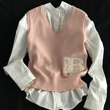 BURBERRY~Blush Pink Vest Cotton/Wool QUILTED Logo GIRLS Size 14
