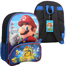 "16"" SUPER MARIO BROS BACKPACK w Front Compartment Kids Boys School Bag NEW"