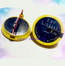 2 PCS X New Rechargeable Tabbed LiR2450 3.6V Coin Cell Battery With 2Pins