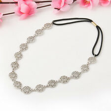Women Fashion Metal Rhinestone Head Chain Jewelry Headband Head Clip Hair Comb