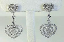 14K White Gold Concentric Diamond Hearts Dangle Chandelier Earrings 0.39Carats
