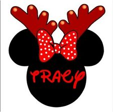 CHRISTMAS DISNEY MINNIE MOUSE*** PERSONALIZED****FABRIC/T-SHIRT IRON ON TRANSFER