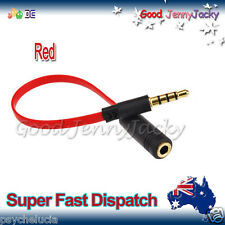 CTIA to OMTP Adapter Converter Flat Noodle Red Cable for Earphones 3.5mm Audio