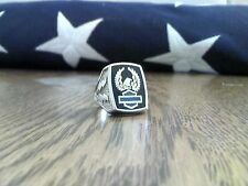 Mens Harley Ring w/Turquoise Bar & Shield