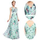 GK Sexy V-Neck Floral Print Evening Dresses Chiffon Ball Gown Evening Prom Party
