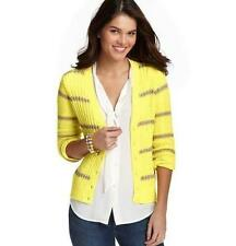 ANN TAYLOR LOFT~NEON YELLOW & TAUPE~STRIPED~CABLE KNIT CARDIGAN SWEATER~M