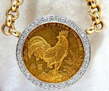 █$17000 1993 SINGOLD FINE GOLD COIN 1.00CT DIAMONDS ITALIAN LINK NECKLACE HUGE
