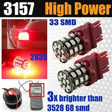 2x 3157 High Power 2835 LED Chip Bright Red Brake Tail Dual Filament Light Bulbs