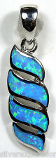 Blue Fire Opal Inlay Genuine 925 Sterling Silver Pendant For Necklace