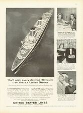 1959 United States Lines Cruise Ship Europe SS America SS United States PRINT AD