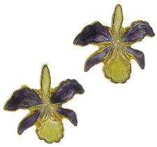 Cloisonne Enamel Yellow Purple Orchids Pierced Earrings