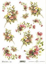 Rice Paper for Decoupage Scrapbooking, Bouquet of White Pink Flowers ITD R565