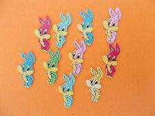 10 NEW WOOD SEWING BUTTONS BUNNY RABBIT  SHAPED CRAFTS/SCRAP BOOKING