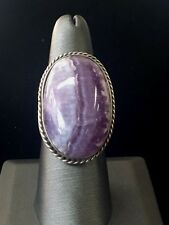Antique Sterling Silver and Charoite Stone Ring with Taxco Hallmarks