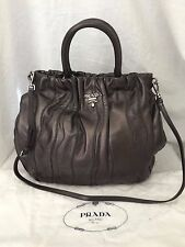 Prada Mordore Nappa Brown Leather Tessuto Striped Handbag Crossbody Great $1896