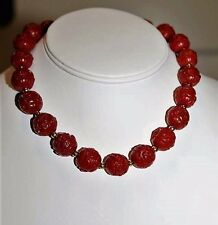 Antique Stunning Dark Red Carved Chinese Export Cinnabar 1900's Necklace NS3