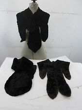 3 Antique Edwardian? Black Fur Collars - Curly Lamb and Others