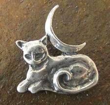 Pewter Cat Familiar with Moon Pendant Wicca
