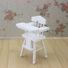 Bedroom Furniture Baby High Chair 1:12 Dollhouse Miniatures Kids Bjd Doll White