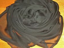 """EARLY Jet Black Tissue Silk~32X58""""~DOLL DRESSING*PROJECT~ExCon*No Flaws Noted"""