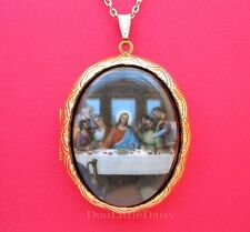 Christian Religious Porcelain Last Supper of JESUS CHRIST Cameo Locket Necklace
