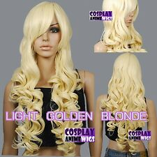 80cm Light Golden Blonde Heat Styleable Curly Long Cosplay Wigs 967_LGB
