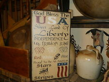 PRIMITIVE AMERICANA SIGN~GOD BLESS THE USA~RED WHITE BLUE~LIBERTY~TYPOGRAPHY~~
