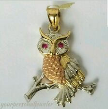 Good luck Solid 14k Yellow white rose  Gold Owl Pendant red eye 1.45 inches long