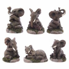 NEW 6 ADORABLE ELEPHANT FIGURES ON ROCK SAFARI ANIMAL ELE07