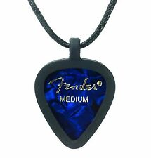 Guitar Pick Necklace by Pickbandz PICK HOLDER in Black w/ Blue Moto Fender Pick